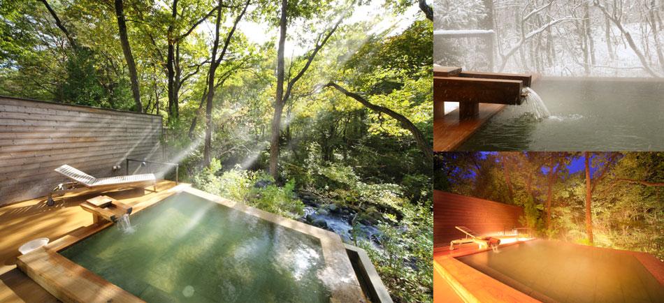 渓流露天風呂川の湯「川の湯 しかく」